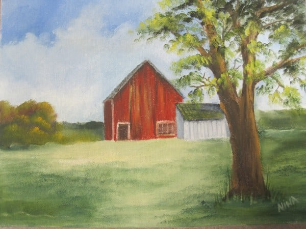 March 24 Oil Painted Barn Scene with Nina S.