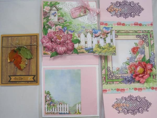 Heartfelt Aug. 25 9 – 11 am Peony (2 cards), & 1 autmn card – with Lynda!